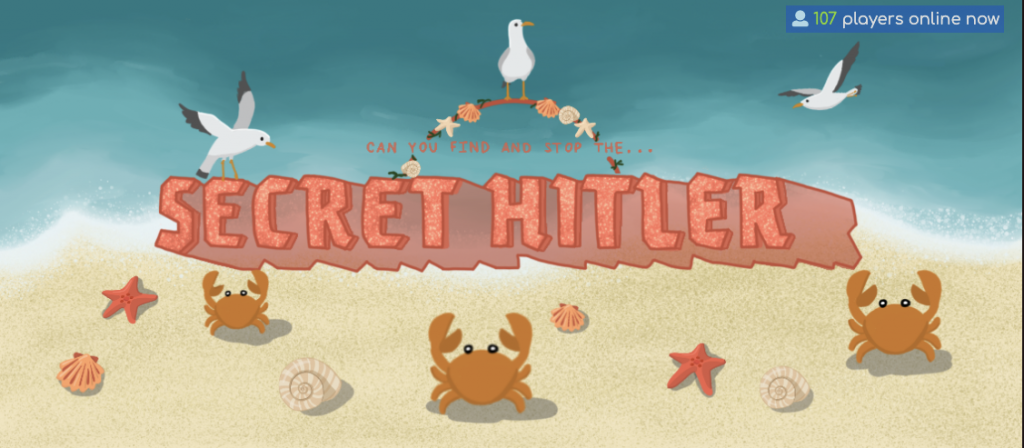 screenshot of secrethitler.io, featuring crabs and seagulls