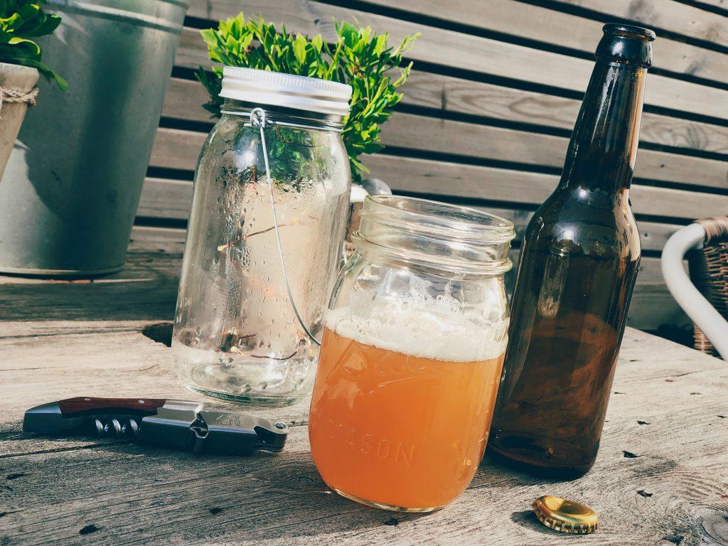 Homebrewed beer in a mason jar